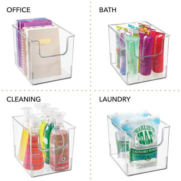 Related mdesign plastic open front bathroom storage organizer basket bin for cabinets shelves countertops bedroom kitchen laundry room closet garage 8 wide 4 pack clear
