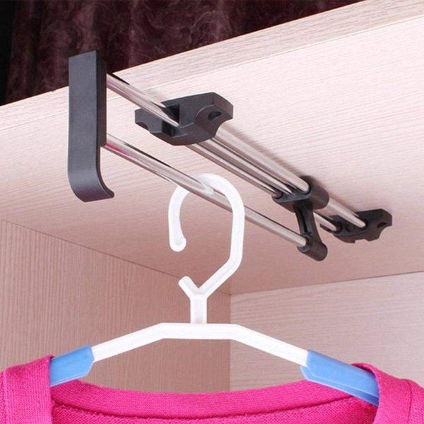 Best zjchao heavy duty retractable closet pull out rod wardrobe clothes hanger rail towel ideal for closet organizer polished chrome 30cm 11 8 inches