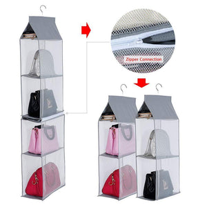 Save keepjoy detachable hanging handbag organizer purse bag collection storage holder wardrobe closet space saving organizers system pack of 2 grey