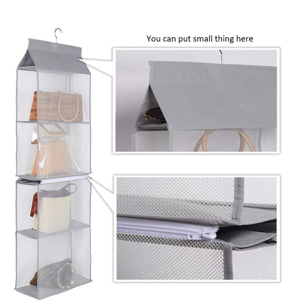 Cheap aoolife hanging purse handbag organizer clear hanging shelf bag collection storage holder dust proof closet wardrobe hatstand space saver 4 shelf grey