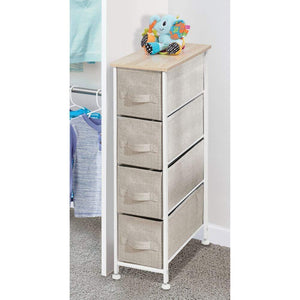 Shop here mdesign narrow vertical dresser storage tower sturdy frame wood top easy pull fabric bins organizer unit for bedroom hallway entryway closets textured print 4 drawers light tan white