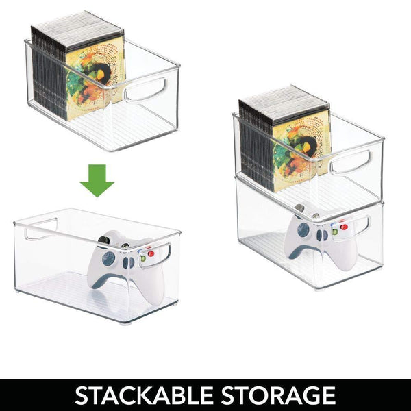 On amazon mdesign plastic stackable household storage organizer container bin box with handles for media consoles closets cabinets holds dvds video games gaming accessories head sets 4 pack clear