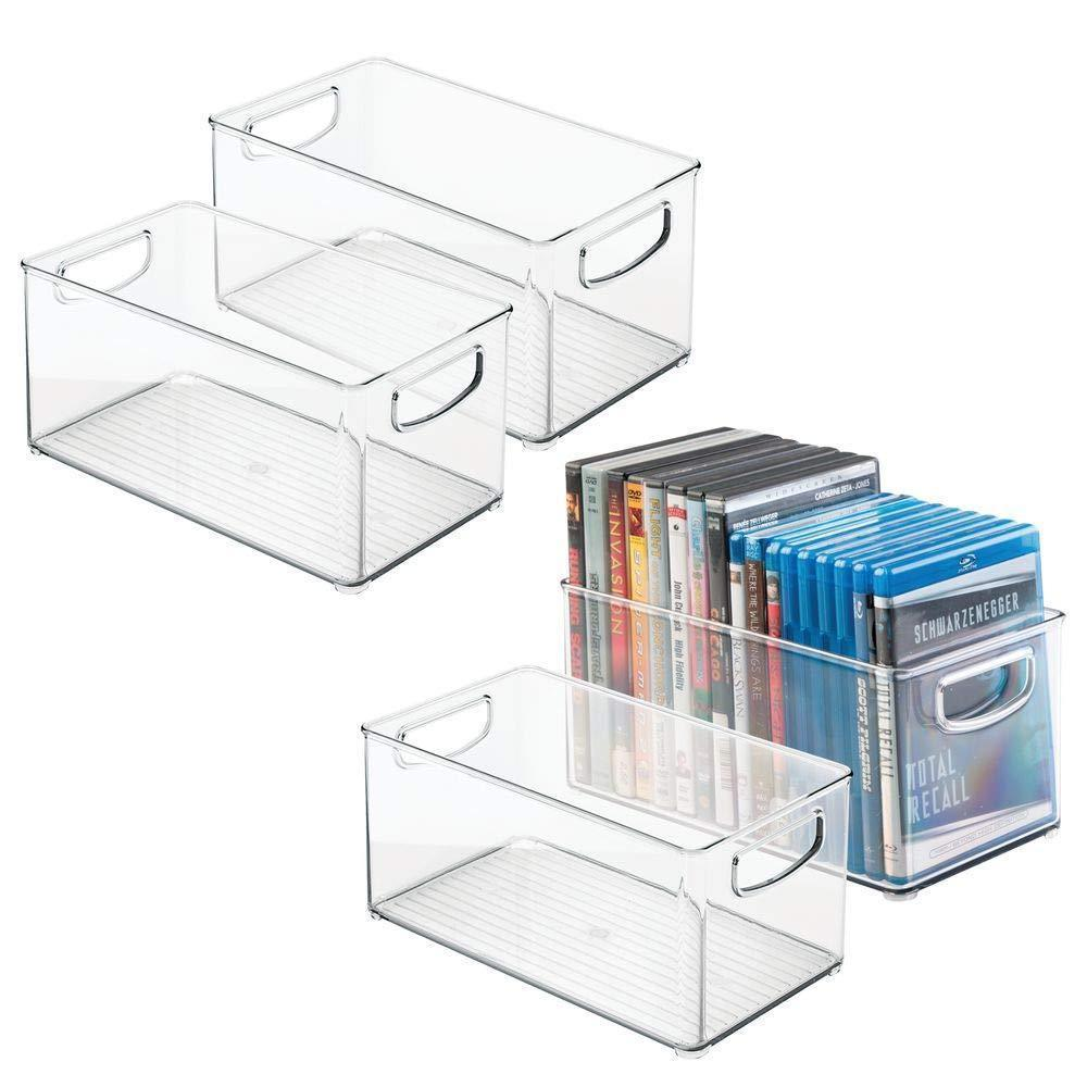 Heavy duty mdesign plastic stackable household storage organizer container bin box with handles for media consoles closets cabinets holds dvds video games gaming accessories head sets 4 pack clear