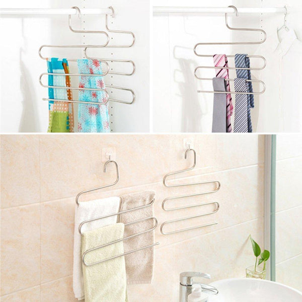 Heavy duty peiosendor s type pants hangers multi purpose stainless steel magic closet hangers space saver storage rack for hanging jeans scarf tie family economical storage 3
