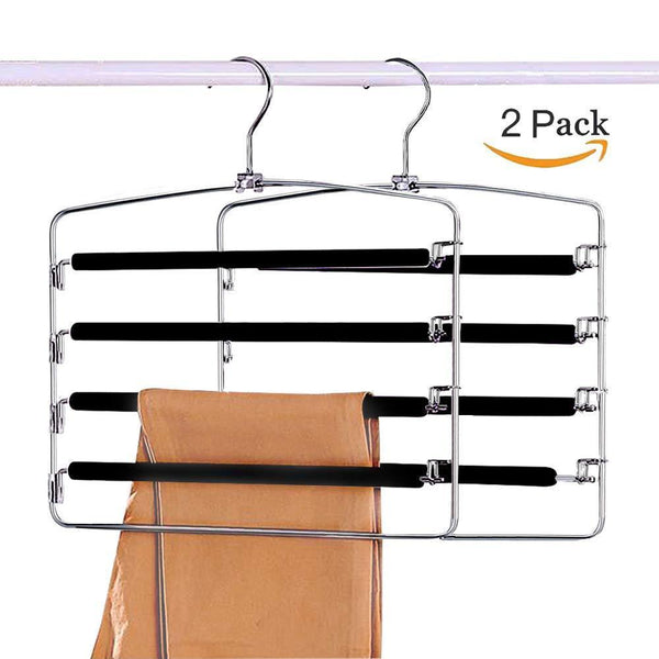 Results clothes pants hangers 2 pack sunblo multi layers space saving slack hangers non slip foam padded metal closet storage organizer for jeans trousers skirts scarf black