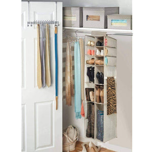 Best seller  mdesign soft fabric over rod hanging closet organizer holds shoes boots handbags clutches accessories 16 section storage unit chevron zig zag print taupe natural