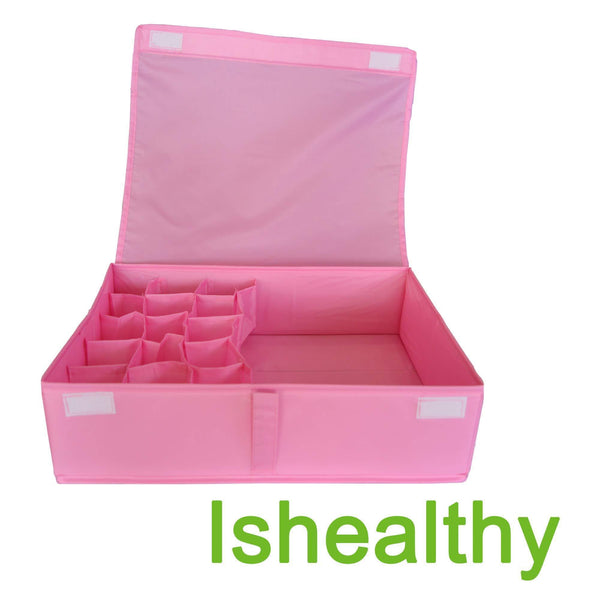 Get ishealthy underwear drawer storage organizer with cover oxford fabric 2 in 1 washable and foldable storage box closet divider for bras socks ties scarves and handkerchiefs pink