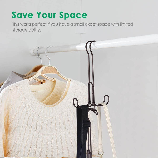 Shop here tomcare metal purse organizer stackable purse hanger handbag organizer sturdy bag organizer purse holder rack hanging closet organizer for purses handbags backpacks bags totes 6 pack bronze