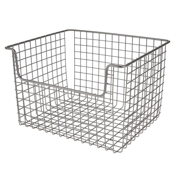 Related mdesign farmhouse decor metal storage organizer basket vintage grid style for organizing closets shelves cabinets in bedrooms bathrooms entryways hallways 12 wide 8 pack graphite gray