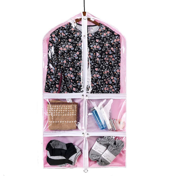 Online shopping qees pink costume garment bag with 4 zipper pockets 37 clear kids garment bags dance costume bags childrens garment costume bags for dance competitions travel and closet storage yfz71 3 pcs