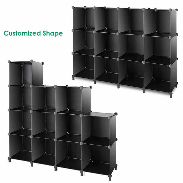 Buy tomcare cube storage 12 cube bookshelf closet organizer storage shelves shelf cubes organizer plastic book shelf bookcase diy square closet cabinet shelves for bedroom office living room black
