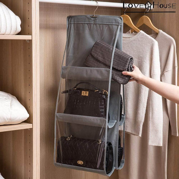 Budget love in the house hanging handbag purse organizer household wardrobe closet organizer hanging storage bag 6 large storage pockets grey 36x14x14