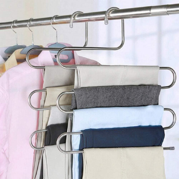 On amazon ahua 4 pack premium s type clothes pants hanger s shape stainless steel space saving hanger saver organization 5 layers closet storage organizer for jeans trousers tie belt scarf
