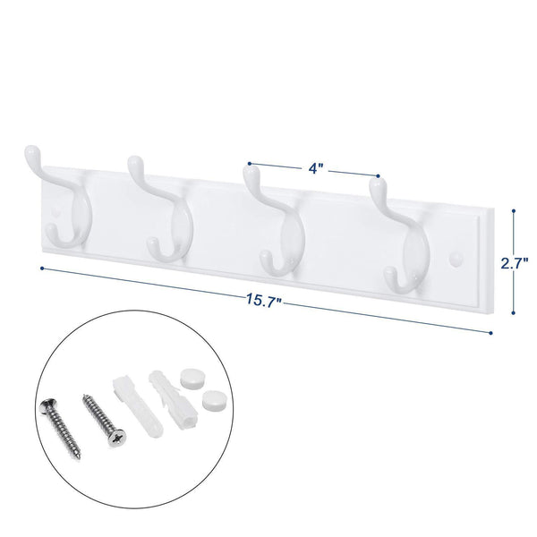 Budget friendly songmics wooden wall mount coat rack with 4 metal hooks 16 inch coat hook rail for hallway bathroom closet room white ulhr23wt
