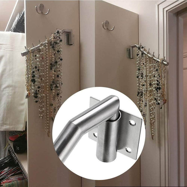 Explore wall mount clothing rack 2 pack stainless steel hanging drying clothes hanger with swing arm holder heavy duty laundry closet storage organizer rod space saver clothing for bedrooms bathrooms