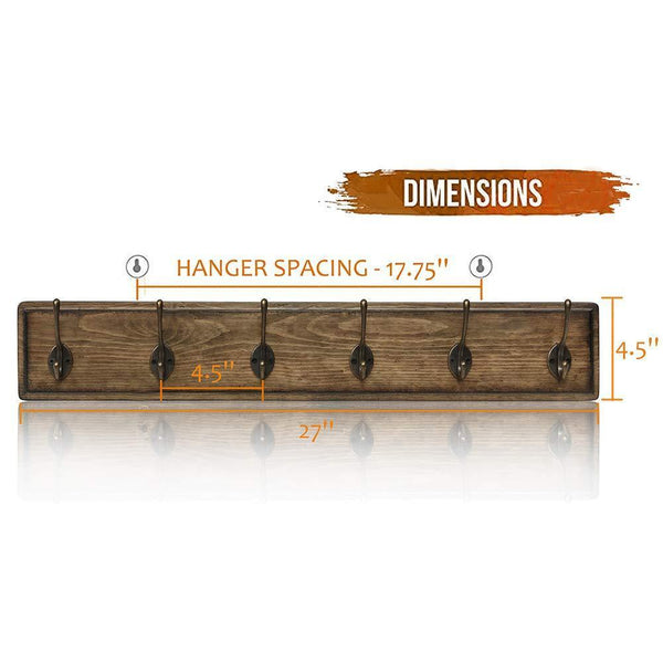 Home argohome coat rack wall mounted wooden 27 coat hooks scroll hook 6 rustic hooks solid pine wood perfect touch for entryway bathroom closet room