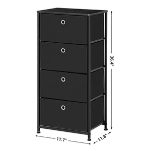New songmics 4 tier dresser drawer unit cabinet with 4 easy pull fabric drawers storage organizer with metal frame and wooden tabletop for living room closet hallway black ults04h
