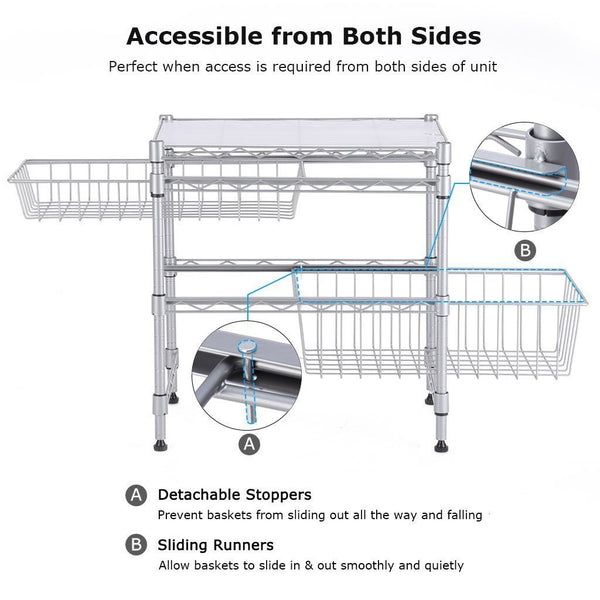 Exclusive rackaphile stackable 2 tier sliding basket organizer drawer under sink cabinet with adjustable leveling feet rack shelf for bathroom kitchen closet office desktop silver