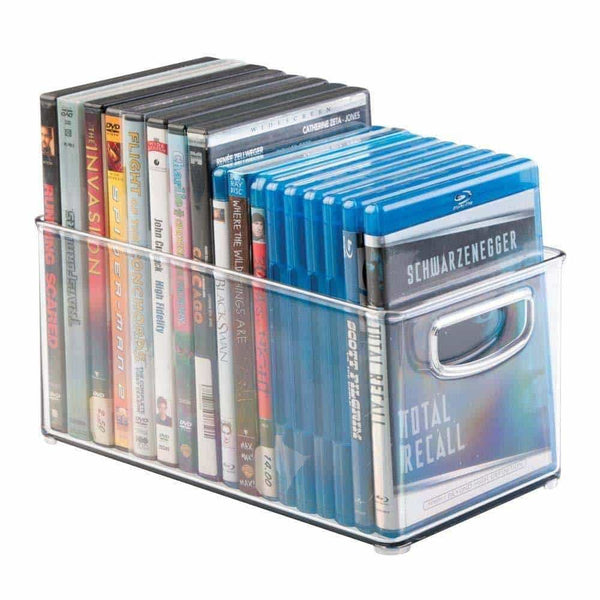 Kitchen mdesign plastic stackable household storage organizer container bin box with handles for media consoles closets cabinets holds dvds video games gaming accessories head sets 4 pack clear