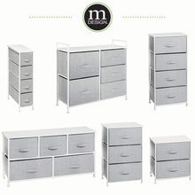 Load image into Gallery viewer, Best mdesign vertical furniture storage tower sturdy steel frame wood top easy pull fabric bins organizer unit for bedroom hallway entryway closets textured print 4 drawers gray white