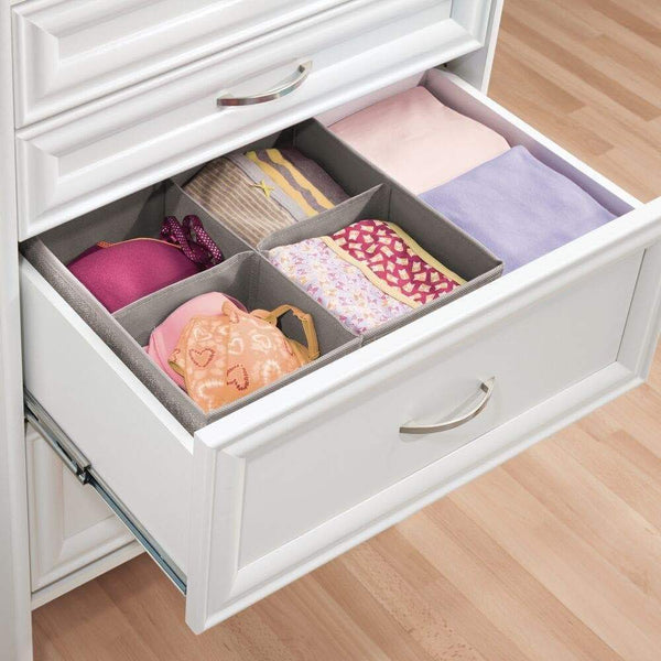 Discover the best mdesign soft fabric dresser drawer and closet storage organizer bin for lingerie bras socks leggings clothes purses scarves divided 4 section tray textured print 2 pack linen tan