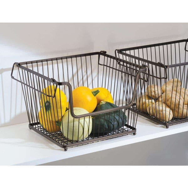 Online shopping mdesign modern stackable metal storage organizer bin basket with handles open front for kitchen cabinets pantry closets bedrooms bathrooms large 6 pack bronze