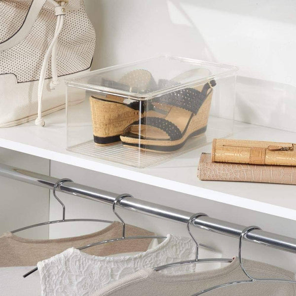 Select nice mdesign stackable closet plastic storage bin box with lid container for organizing mens and womens shoes booties pumps sandals wedges flats heels and accessories 5 high 6 pack clear