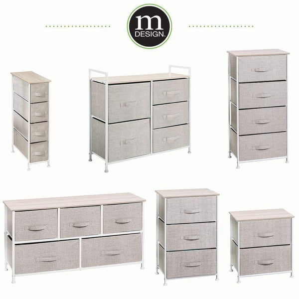 New mdesign end table night stand storage tower sturdy steel frame wood top easy pull fabric bins organizer unit for bedroom hallway entryway closets textured print 2 drawers linen natural