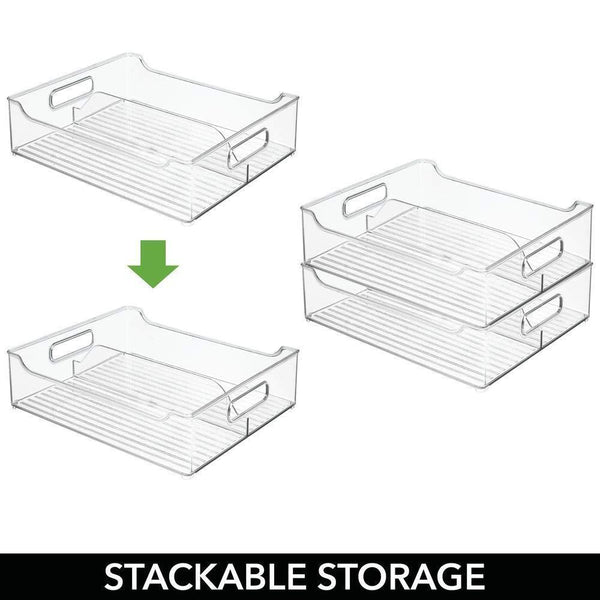Select nice mdesign plastic closet storage bin with handles divided organizer for shirts scarves bpa free 14 5 long 2 pack clear