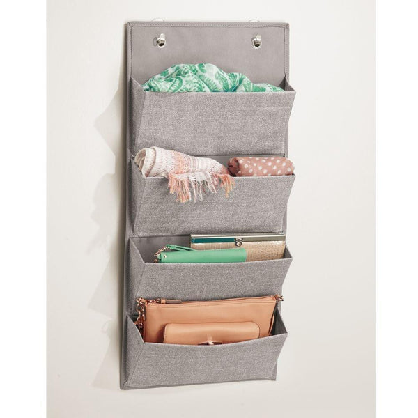 Cheap idesign interdesign wall mount over door fabric closet storage clutch purses handbags scarves linen aldo hanging 4 pocket organizer