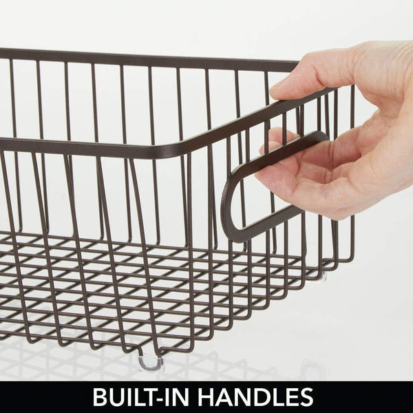 Buy mdesign metal bathroom storage organizer basket bin farmhouse wire grid design for cabinets shelves closets vanity countertops bedrooms under sinks large 4 pack bronze