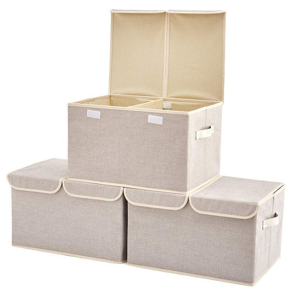 Cheap large storage boxes 3 pack ezoware large linen fabric foldable storage cubes bin box containers with lid and handles for nursery closet kids room toys baby products silver gray