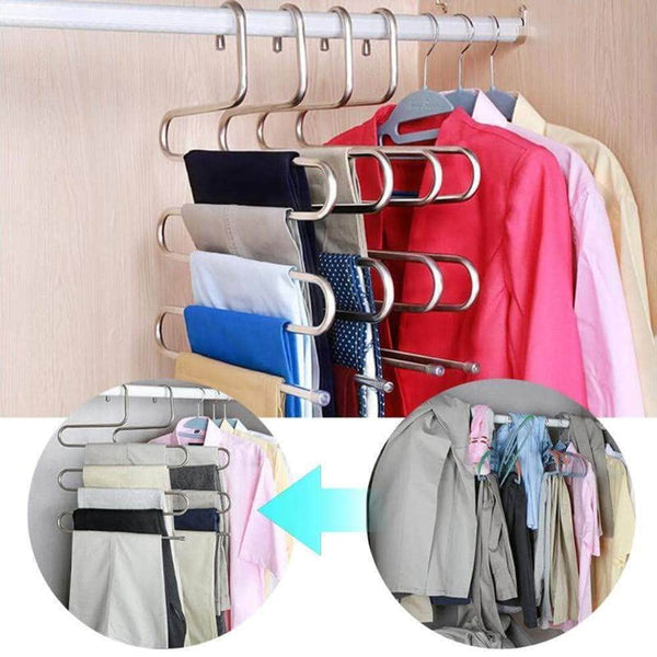 Kitchen ahua 4 pack premium s type clothes pants hanger s shape stainless steel space saving hanger saver organization 5 layers closet storage organizer for jeans trousers tie belt scarf