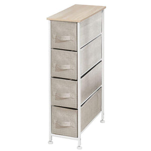 Storage mdesign narrow vertical dresser storage tower sturdy frame wood top easy pull fabric bins organizer unit for bedroom hallway entryway closets textured print 4 drawers light tan white