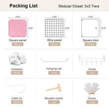 Load image into Gallery viewer, Save yozo modular closet cloth storage organizer portable kids wardrobe chest of drawer ube shelving unit multifunction toy cabinet bookshelf diy furniture pink 25 cubes
