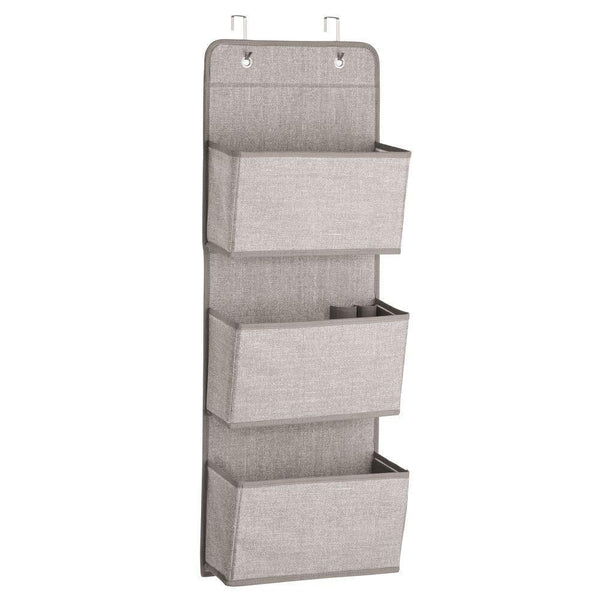 Shop mdesign a568 soft fabric over the door hanging storage organizer with 3 large pockets for closets in bedrooms hallway entryway mudroom hooks included textured print 2 pack linen tan