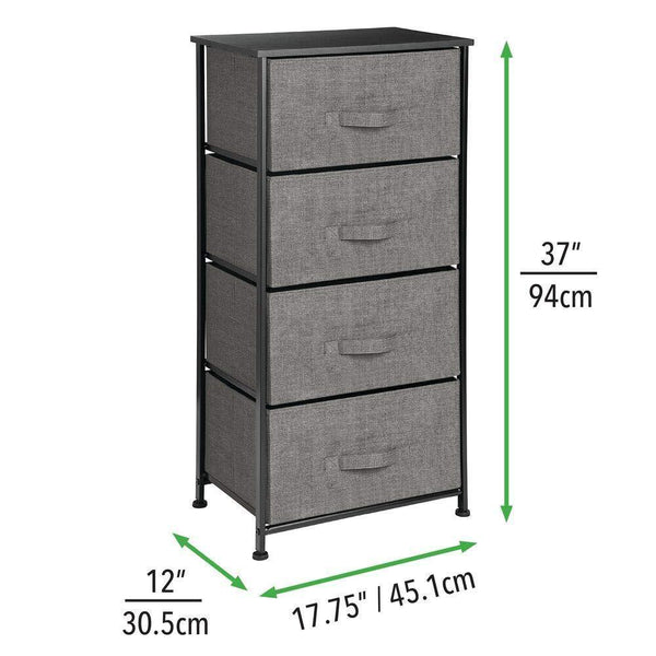 Buy now mdesign vertical dresser storage tower sturdy steel frame wood top easy pull fabric bins organizer unit for bedroom hallway entryway closets textured print 4 drawers charcoal gray black