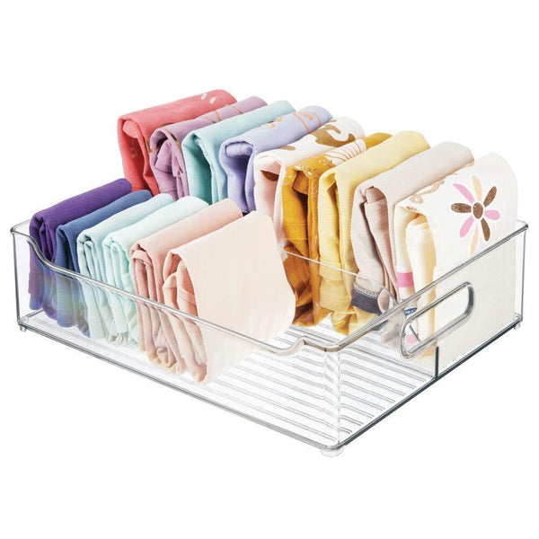 Selection mdesign plastic closet storage bin with handles divided organizer for shirts scarves bpa free 14 5 long 2 pack clear