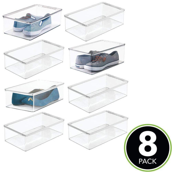 Discover the mdesign stackable plastic closet shelf shoe storage organizer box with lid for mens womens kids sandals flats sneakers 8 pack clear
