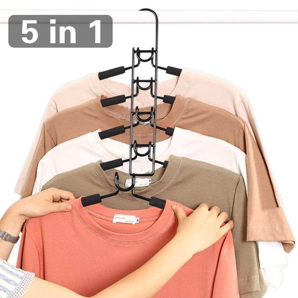 Kitchen pupouse multi layers clothes hangers 5 in 1 anti slip sponge metal clothes rack multifunctional closet hanger space saving organizer for jacket coat sweater skirt trousers shirt t shirt