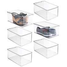 Load image into Gallery viewer, Related mdesign stackable closet plastic storage bin box with lid container for organizing mens and womens shoes booties pumps sandals wedges flats heels and accessories 5 high 6 pack clear