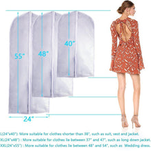 Load image into Gallery viewer, Great garment bag clear plastic breathable moth proof garment bags cover for long winter coats wedding dress suit dance clothes closet pack of 6 24 x 55