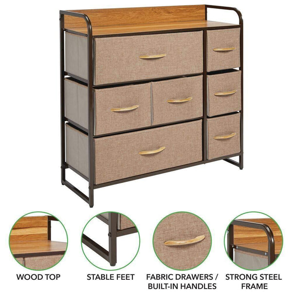 Storage mdesign wide dresser storage chest sturdy steel frame wood top easy pull fabric bins organizer unit for bedroom hallway entryway closet textured print 7 drawers coffee espresso brown