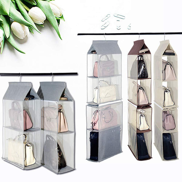 Shop for keepjoy detachable hanging handbag organizer purse bag collection storage holder wardrobe closet space saving organizers system pack of 2 grey
