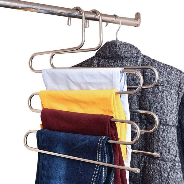 Great teerfu 3 pack study pants hangers s type stainless steel trousers rack 5 layers multi purpose closet hangers magic space saver storage rack for clothes towel scarf trousers tie