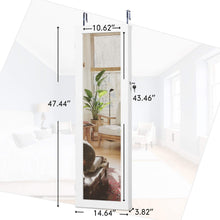 Load image into Gallery viewer, Heavy duty cloud mountain jewelry cabinet 6 leds jewelry armoire lockable wall door mounted jewelry cabinet organizer with mirror 2 drawers bedroom living room cloakroom closet white