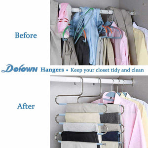 Organize with doiown s type stainless steel clothes pants hangers closet storage organizer for pants jeans scarf hanging 14 17 x 14 96ins set of 3 5 pieces light blueupgrade style