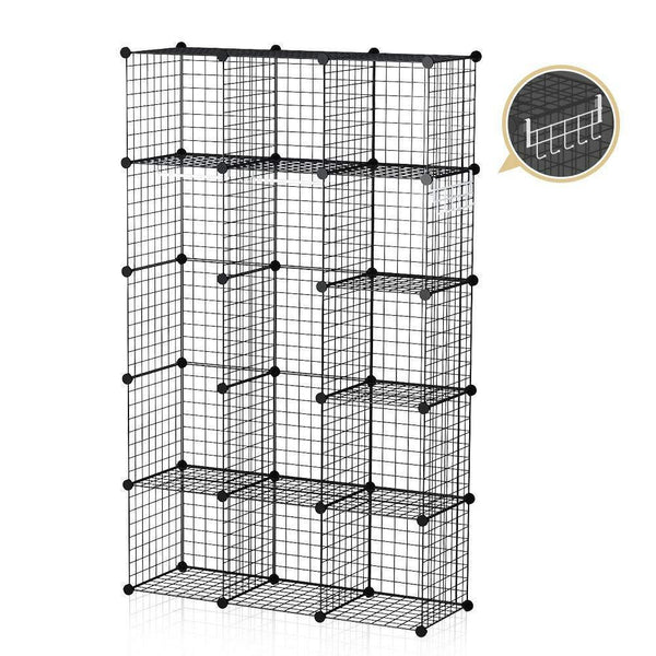 On amazon george danis wire storage cubes metal shelving unit portable closet wardrobe organizer multi use rack modular cubbies black 14 inches depth 3x5 tiers