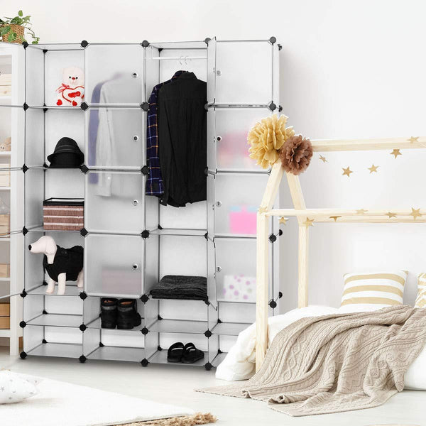 Save tangkula portable clothes closet wardrobe bedroom armoire diy storage organizer closet with doors 16 cubes and 8 shoe racks