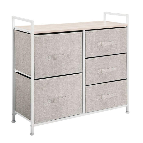Buy now mdesign wide dresser storage tower sturdy steel frame wood top easy pull fabric bins organizer unit for bedroom hallway entryway closets textured print 5 drawers linen tan